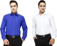 Yuva Formal Shirts (Men's) - Yuva Men's Solid Formal Blue, White Shirt(Pack of 2)