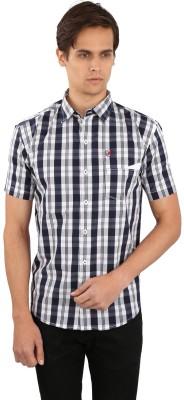 Eden Elliot Men's Checkered Casual Dark Blue, White Shirt