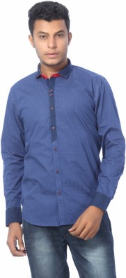 ROGER CLOTHIER Men's Polka Print Wedding, Casual, Party, Formal Blue Shirt
