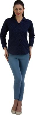 GUDS Women's Printed Formal Blue Shirt