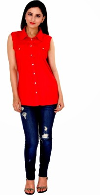 Damsel Women's Solid Casual Red Shirt