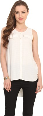 Label VR Women,s Solid Casual White Shirt