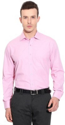 UNO COTTON Men's Solid Formal Pink Shirt