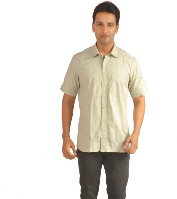 Sterling Men's Striped Formal Yellow Shirt