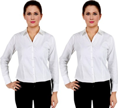 NGT Women's Solid Formal White Shirt