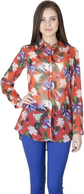 Paislei Women's Floral Print Casual Red Shirt