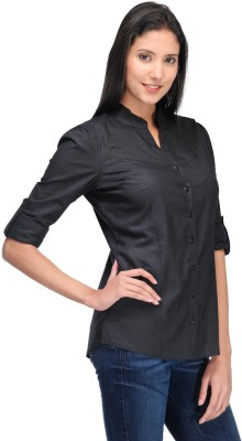 Rockland Life Women's Solid Formal Black Shirt