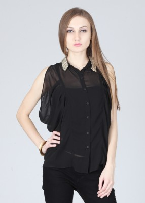 Remanika Women,s Solid Party Black Shirt