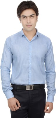 25th R Men,s Solid, Self Design Casual Blue Shirt