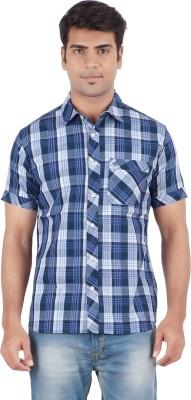 Anytime Men's Checkered Casual Dark Blue, White Shirt
