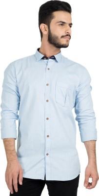 British Club Men,s Solid Casual Light Blue Shirt