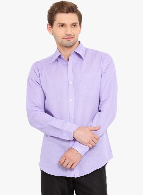Erza Men's Solid Casual Purple Shirt