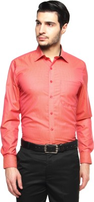British Club Men's Checkered Formal Orange Shirt