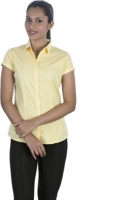Elle Et Lui Women's Checkered Formal Yellow Shirt