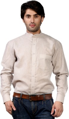 Hugo Chavez Men's Solid Formal Linen Brown Shirt