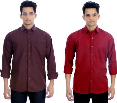 Atmosphere Men's Solid Casual Brown, Maroon Shirt