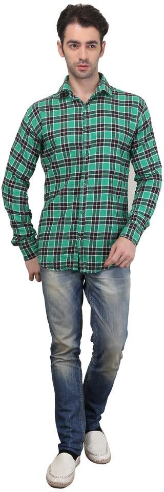 Custom Paid Men's Checkered Casual Green Shirt