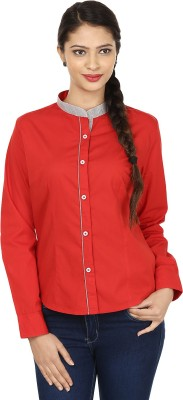 Smile By Nature Women's Solid Party Red, Grey Shirt