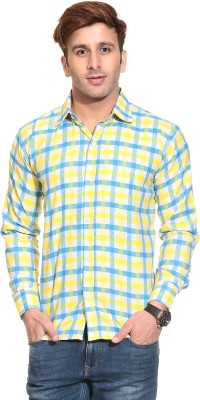 Stylistry Men's Checkered Casual Yellow Shirt