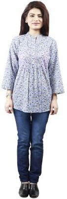 PINK SISLY Women's Floral Print Casual Blue Shirt