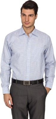 Indocity Men's Checkered Formal White Shirt
