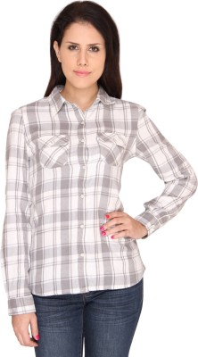 Bedazzle Women's Checkered Casual Grey, White Shirt