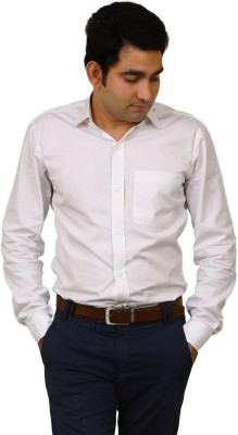 Benzoni Men's Solid Formal White Shirt