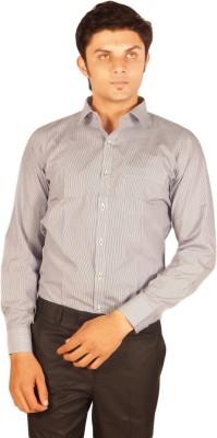 Kriss Men's Striped Casual Grey Shirt