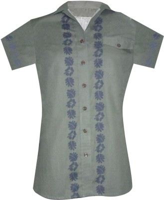 Ovzia Women's Printed Formal Green, Purple Shirt