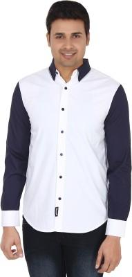 Suchos Mens Solid Casual White, Dark Blue Shirt