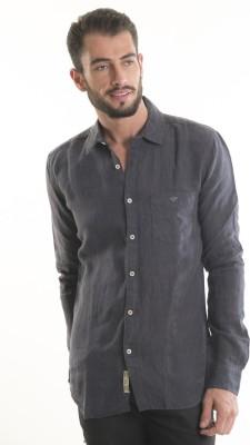 Kart & Kriss Men's Solid Casual Grey Shirt