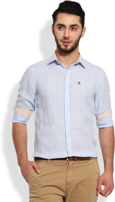 Oxford Club Men's Solid Casual Linen Light Blue Shirt