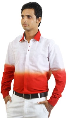 SIERA Men's Printed Casual Linen Red, White Shirt