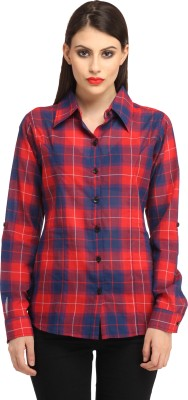 Cation Women's Checkered Casual Red Shirt