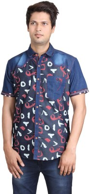 REFUEL SPORT Men's Printed Casual Denim Red Shirt