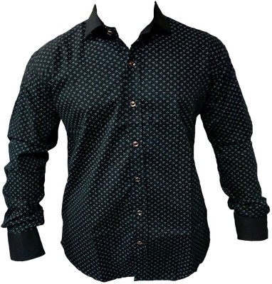 ZEDX Men's Polka Print Casual Black Shirt