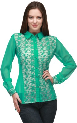 Quest Women's Solid, Self Design Casual Green Shirt