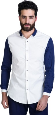 Mr Button Men's Solid Casual White, Blue Shirt