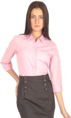Miss Rich Women's Solid Formal Pink Shirt