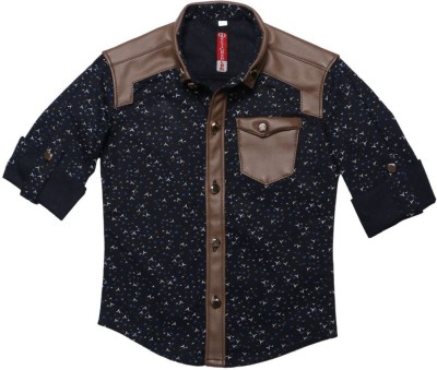 DL EMPORIUM Boy's Printed Casual, Festive, Formal, Party, Wedding Dark Blue Shirt
