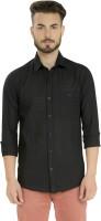 Club X Formal Shirts (Men's) - Club X Men's Checkered Formal Black Shirt