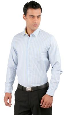 J Hampstead Men's Striped Casual Blue Shirt
