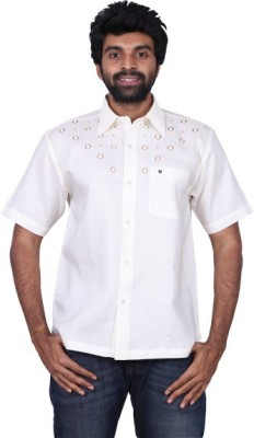 Karlsburg Men's Embroidered Casual Silver, Brown Shirt