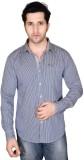 Denimize Men's Striped Casual Beige Shir...