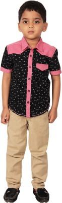 I-Voc Boy's Printed Casual Black, Pink Shirt