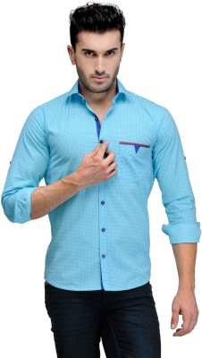 Finder Zone Men's Printed Casual Light Blue Shirt