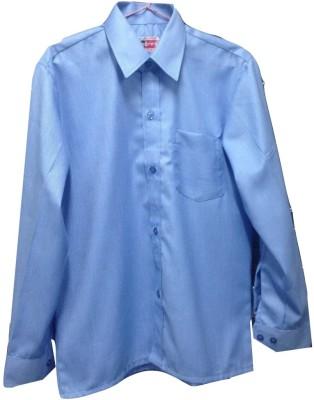 Rajindras Men's Solid Formal Blue Shirt