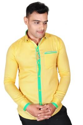 Fabrobe Men's Solid Casual Yellow Shirt