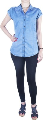 Mitra Creations Women's Solid Casual Denim Light Blue Shirt