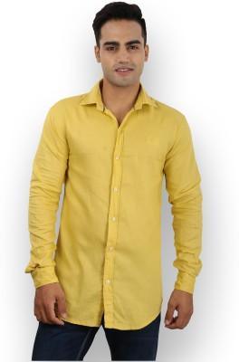 Larwa Sherts Men's Solid Casual Yellow Shirt